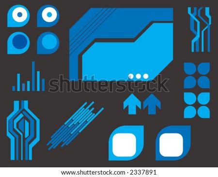 blue techno elements - stock vector