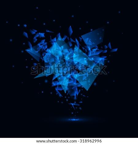 Blue techno style vector explosion - stock vector