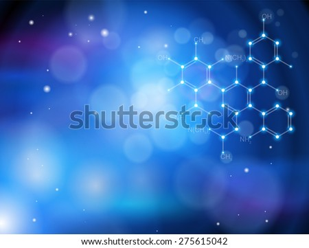 Blue technology background & chemical formula - stock vector