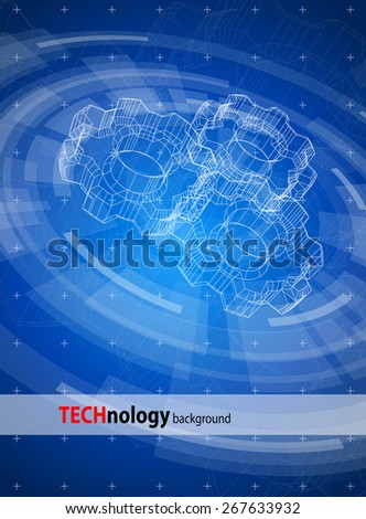 Blue technology background & gears blueprint - stock vector