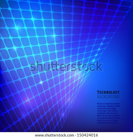 Blue technology grid background. Vector. - stock vector