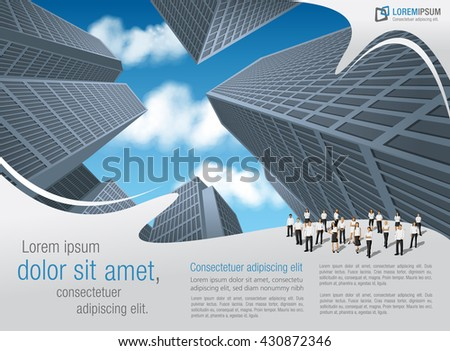 Blue template for advertising brochure with business people in the city - stock vector