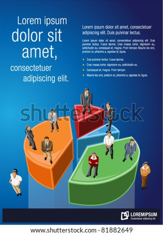 Blue template for advertising brochure with business people over chart - stock vector