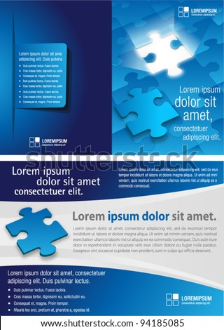 blue template for advertising brochure with puzzle pieces - stock vector