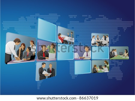 Blue template with business people on screens - stock vector