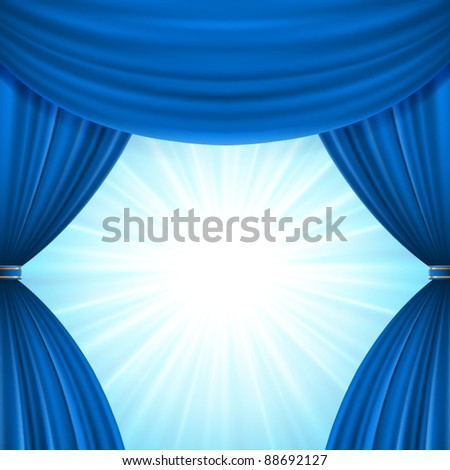 Blue theater curtain and light celebration vector background eps 10. - stock vector