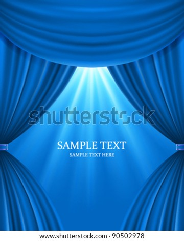 Blue theater curtain and light celebration vector background eps 10 - stock vector