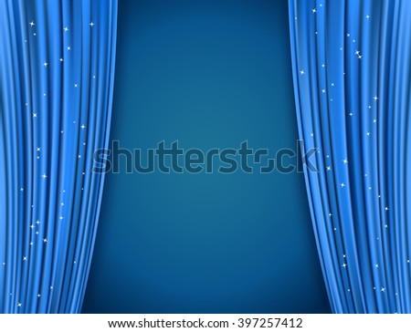 blue theater curtains with glitter. abstract background with opera blue drapes and glittering stars. horizontal vector illustration - stock vector