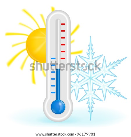 Blue thermometer with sun and snow vector - stock vector