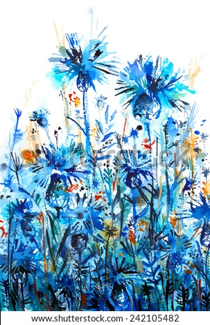 blue thickets of cornflowers flowers/ bluet/ knapweed/ abstract watercolor background/ vector illustration - stock vector