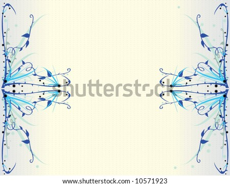 blue thorny floral vector background - stock vector
