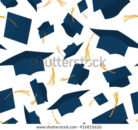 Blue throwing graduation caps on white background Seamless pattern. Vector illustration. Higher education celebration anniversary symbol pattern. Cartoon flat design. Academic hat at the air. wrapping - stock vector