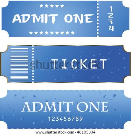 blue ticket - stock vector