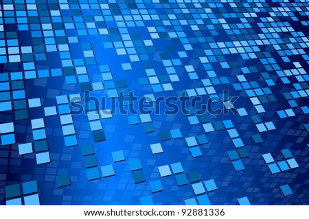 Blue Tile Pattern - stock vector