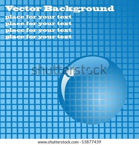 Blue tile with a magnifying glass. Vector background with place for your text - stock vector