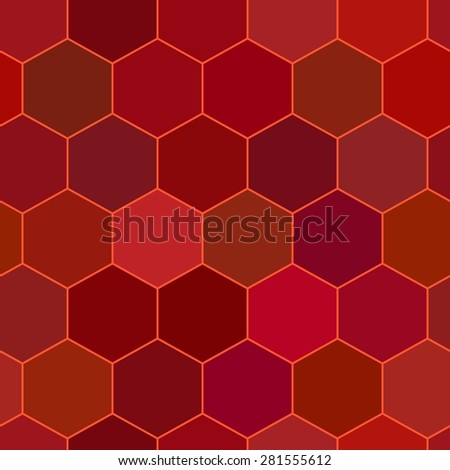 Blue tiles. Seamless pattern with red hexagons - stock vector
