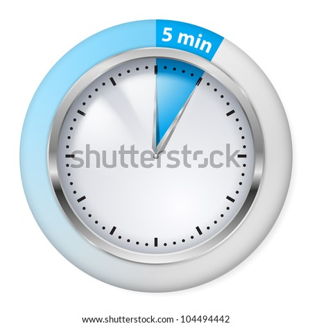 Blue Timer Icon. Five Minutes. Illustration on white.