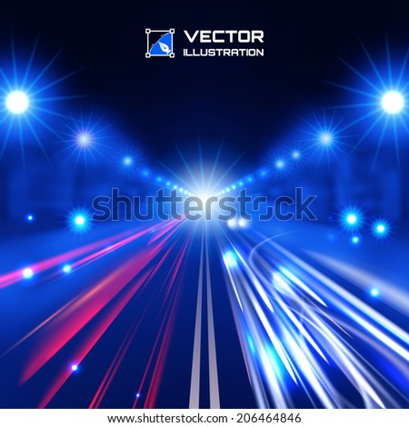 blue tint night road with glowing lights, bokeh and speed lines - stock vector