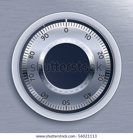 Blue Toned Strongbox Lock. Vector Illustration. - stock vector