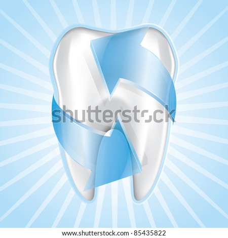 Blue tooth protection, drawing on the floor - stock vector