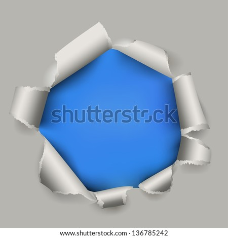 Blue torn paper vector