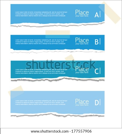 Blue torn paper with space for text - stock vector