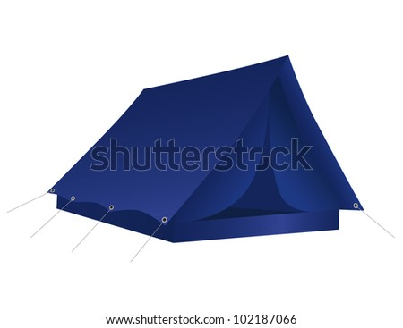 Blue tourist tent for travel and camping