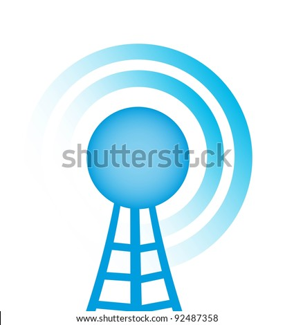 blue tower with radio close up over white background vector - stock vector