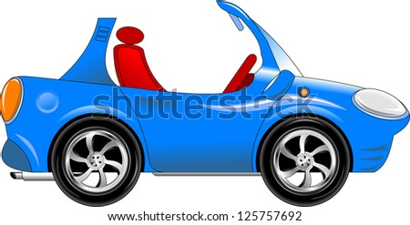 blue toy car. The new sports model (vector-illustration); - stock vector