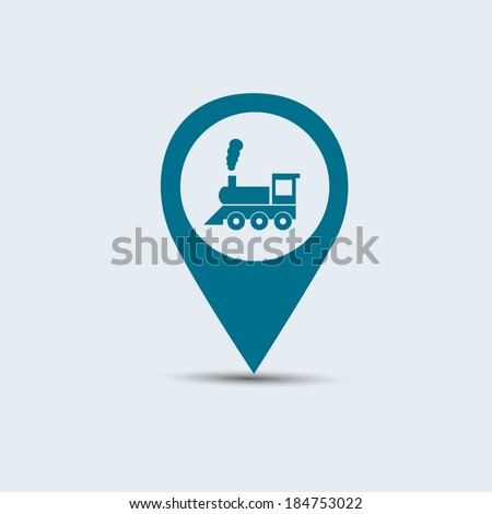 blue train location icon for maps  - stock vector