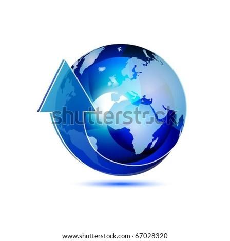 blue translucent globe with arrow vector - stock vector
