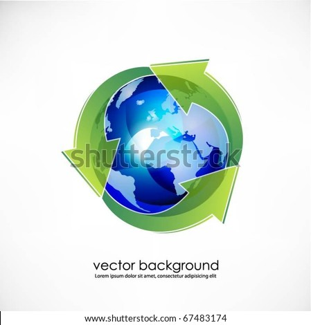 blue translucent globe with arrows vector
