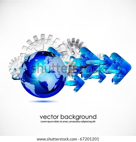 blue translucent globe with gears and arrows vector - stock vector