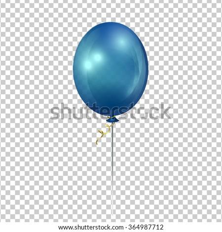 Blue transparent ballon. - stock vector