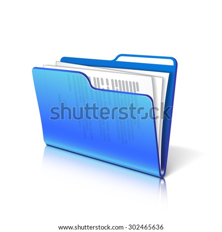 Blue transparent folder with papers. Document icon. Vector illustration. - stock vector