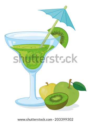 Blue transparent glass with green drink, ice, fruits kiwifruit and apple and straw with umbrella. Eps10, contains transparencies. Vector - stock vector