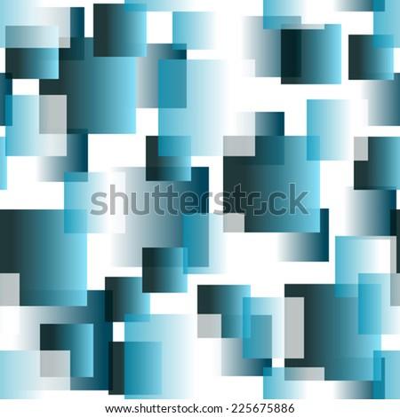 blue transparent tiles on white seamless pattern - stock vector