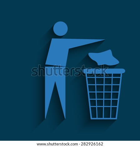blue Trash bin or trash can with human figure symbol in vector with shadow on a blue background - stock vector