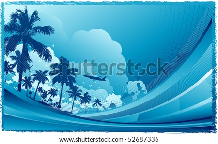 Blue travel background - stock vector