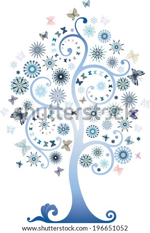 Blue tree - stock vector