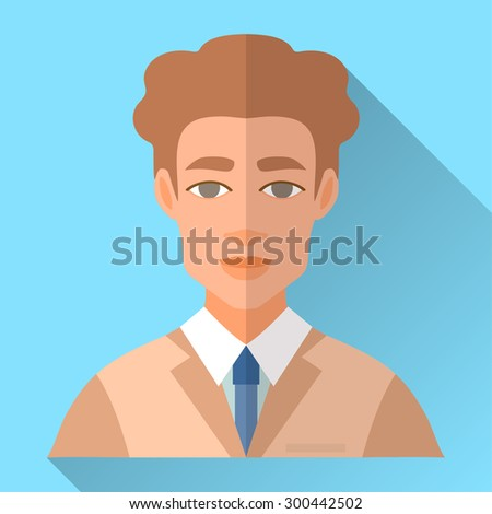 Blue trendy flat square wedding day fiance icon with shadow. Illustration of handsome future husband with short curly brown hair wearing light brown hipster suit, white shirt and blue tie. - stock vector