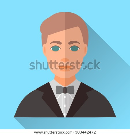 Blue trendy flat square wedding day fiance icon with shadow. Illustration of handsome smiling future husband with stylish brown hair wearing black hipster suit, grey shirt and grey bow tie. - stock vector