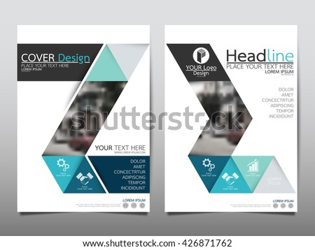 Blue Green Square Annual Report Brochure Stock Vector 406835008