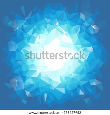 Blue triangular explosion in a low poly style. EPS8 Vector - stock vector