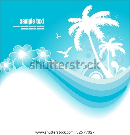 Blue Tropical Background - stock vector