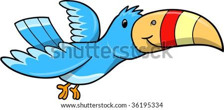 Blue Tropical Bird Vector Illustration - stock vector