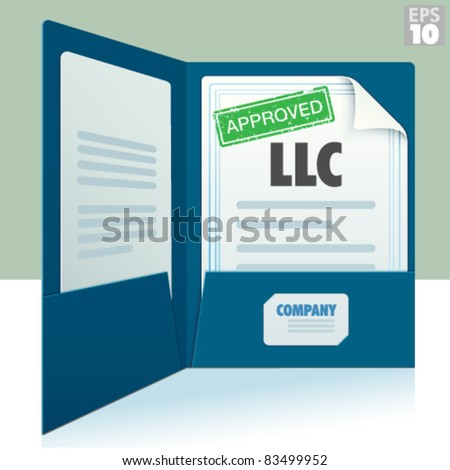 Blue two pocket folder with business card and Limited Liability Corporation approved documents - stock vector
