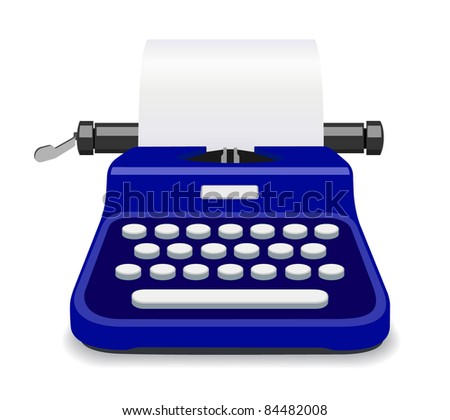 Blue Typewriter - more colors in portfolio - stock vector