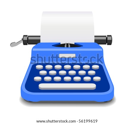 Blue typewriter vector illustration - stock vector