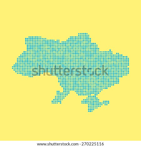 blue ukrainian map from dots. concept of schooling, poster decoration, mosaic, checkered card, colored atlas, national flag colors. flat style trendy modern design vector illustration - stock vector